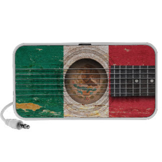 Mexican Flag on Old Acoustic Guitar iPhone Speakers