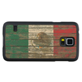 Mexican Flag on Rough Wood Boards Effect Carved Maple Galaxy S5 Case