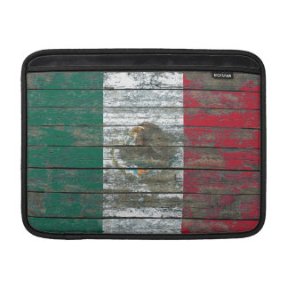 Mexican Flag on Rough Wood Boards Effect Sleeve For MacBook Air