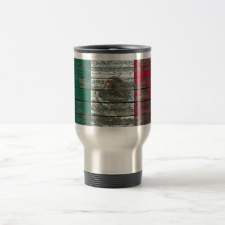 Mexican Flag on Rough Wood Boards Effect Travel Mug