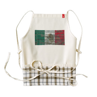 Mexican Flag on Rough Wood Boards Effect Zazzle HEART Apron