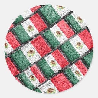 Mexican Flag Pattern Design Classic Round Sticker
