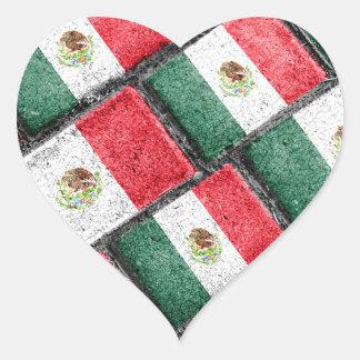 Mexican Flag Pattern Design Heart Sticker