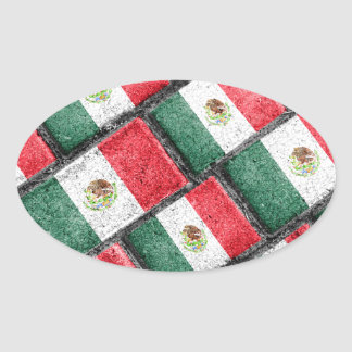 Mexican Flag Pattern Design Oval Sticker