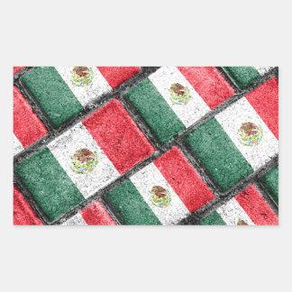 Mexican Flag Pattern Design Rectangular Sticker
