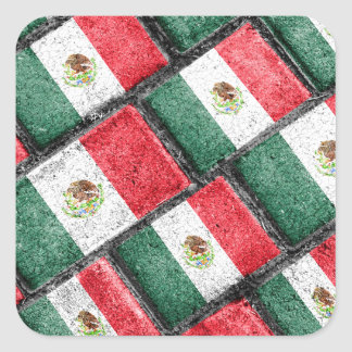 Mexican Flag Pattern Design Square Sticker