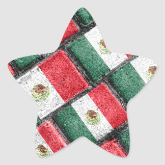 Mexican Flag Pattern Design Star Sticker