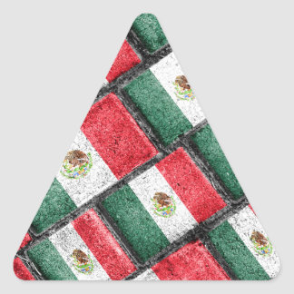 Mexican Flag Pattern Design Triangle Sticker