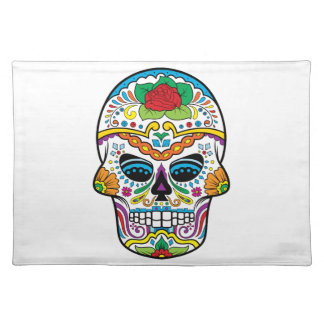 Mexican Flag Red Rose Sugar Skull Placemat