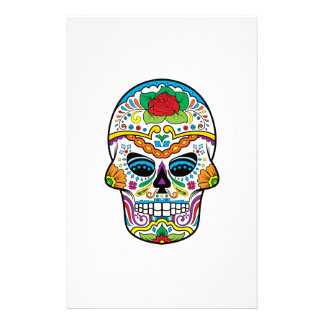 Mexican Flag Red Rose Sugar Skull Stationery