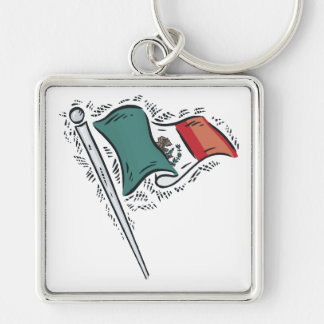 Mexican Flag Silver-Colored Square Keychain