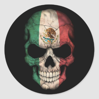 Mexican Flag Skull on Black Classic Round Sticker