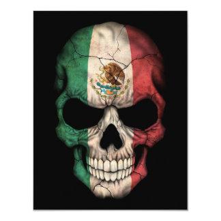 Mexican Flag Skull on Black Custom Invitations