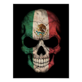 Mexican Flag Skull on Black Poster