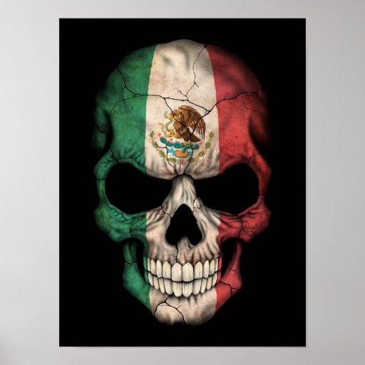 Mexican Flag Skull on Black Print