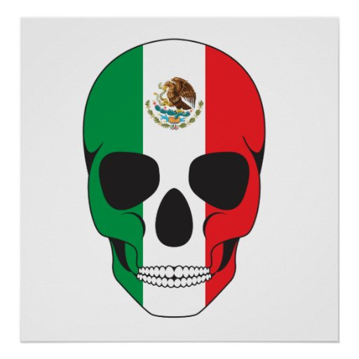 Mexican Flag Skull Posters