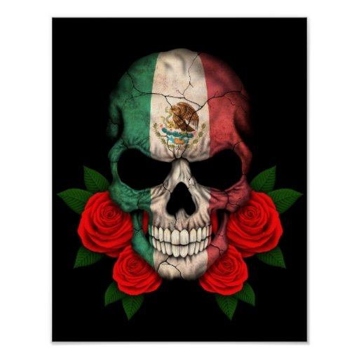 Mexican Flag Skull with Red Roses Print