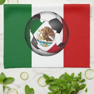 Mexican Flag Soccer Ball Hand Towel