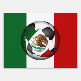 Mexican Flag  Soccer Ball Yard Sign