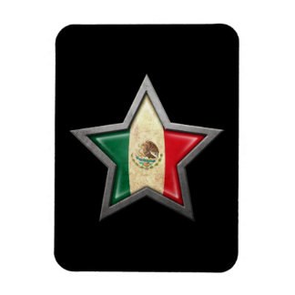 Mexican Flag Star on Black Flexible Magnet