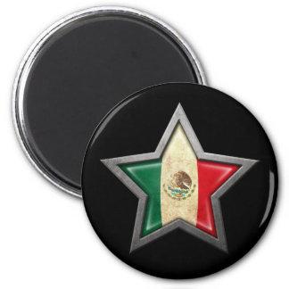 Mexican Flag Star on Black Fridge Magnets