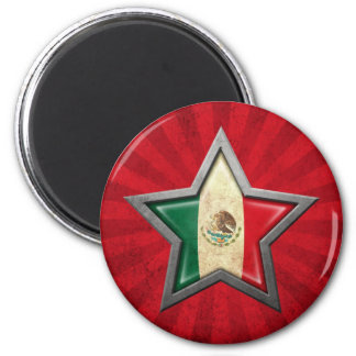 Mexican Flag Star with Rays of Light Refrigerator Magnets