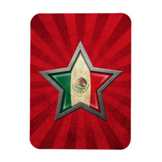 Mexican Flag Star with Rays of Light Flexible Magnet