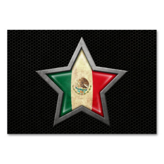 Mexican Flag Star with Steel Mesh Effect Card