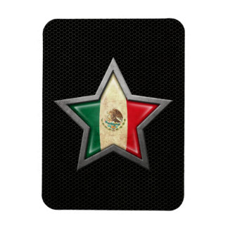 Mexican Flag Star with Steel Mesh Effect Vinyl Magnets