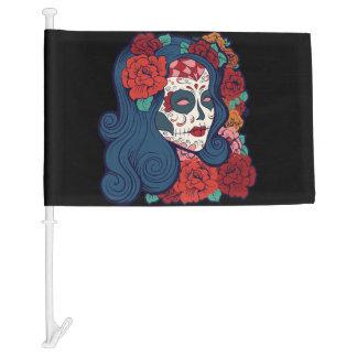 Mexican Flag Sugar Skull Woman Red Roses In Hair Car Flag