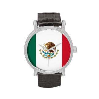 Mexican Flag Watch (Black Leather Strap)