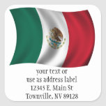 Mexican Flag Waving Square Stickers