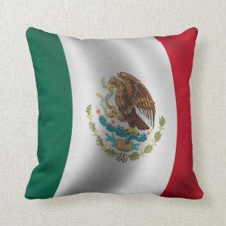 Mexican Flag Waving Throw Pillow