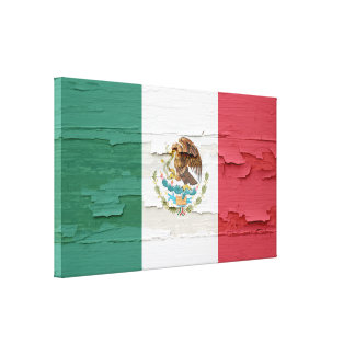 Mexican Flag Weathered Paint Canvas Print
