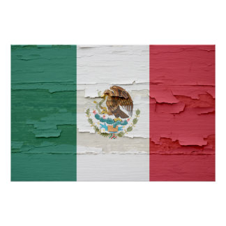 Mexican Flag Weathered Paint Print