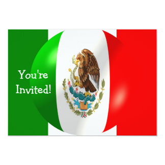 Mexican Flag With Bubble Invitation