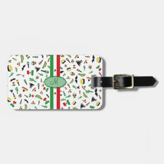 Mexican flag with icons of Mexico Bag Tag