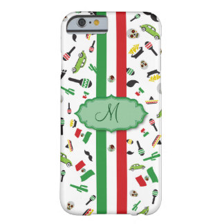 Mexican flag with icons of Mexico Barely There iPhone 6 Case