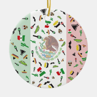 Mexican flag with icons of Mexico Ceramic Ornament