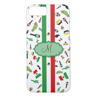 Mexican flag with icons of Mexico iPhone 8/7 Case