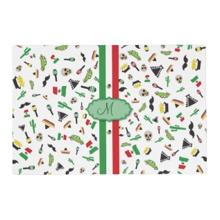 Mexican Flag With Icons Of Mexico Placemat at Zazzle