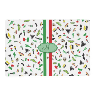 Mexican flag with icons of Mexico Placemat