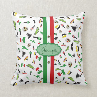 Mexican flag with icons of Mexico Throw Pillow