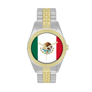 Mexican Flag Wrist Watch (Two-Tone Strap)