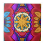 """Mexican Floral Abstract Tile<br><div class=""""desc"""">Tile with original fractal flowers in trendy Mexican colors.</div>"""