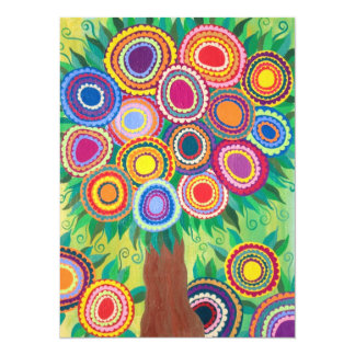 """Mexican Flowering Tree of Life 5.5"""" X 7.5"""" Invitation Card"""