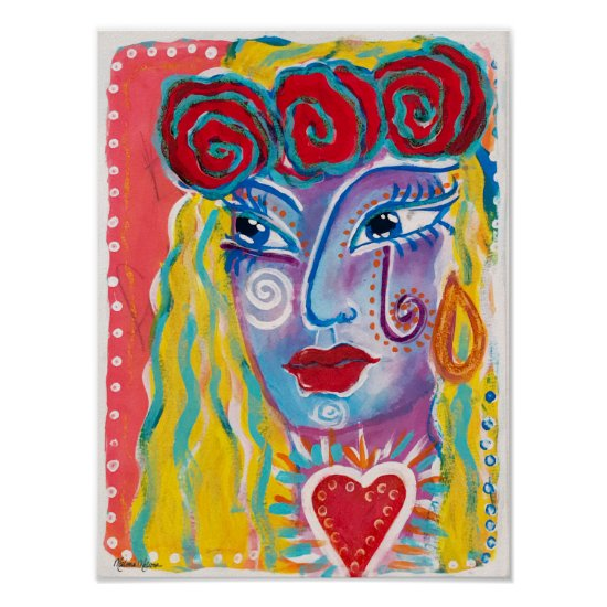 Mexican Folk Art Inspired Woman Red Roses Colorful Poster