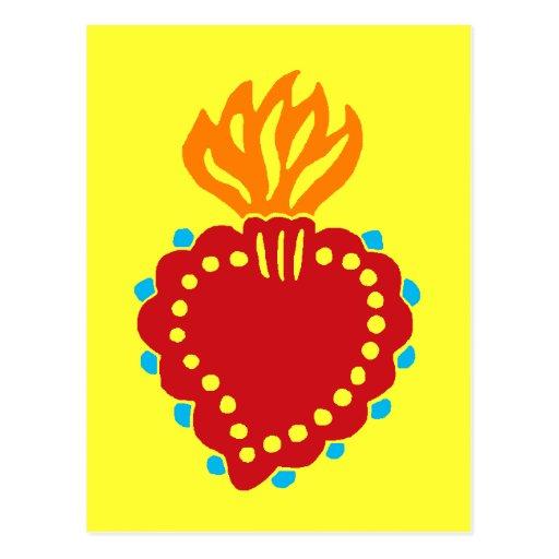 Mexican Folk Art Sacred Heart Postcard