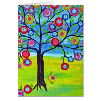 Mexican folk art style Tree of Life Greeting Card