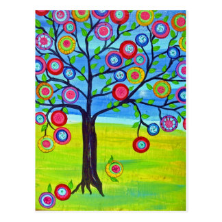 Mexican folk art style Tree of Life Postcard